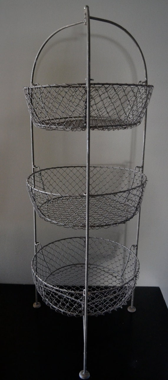 shabby chic egg wire three tier display baskets