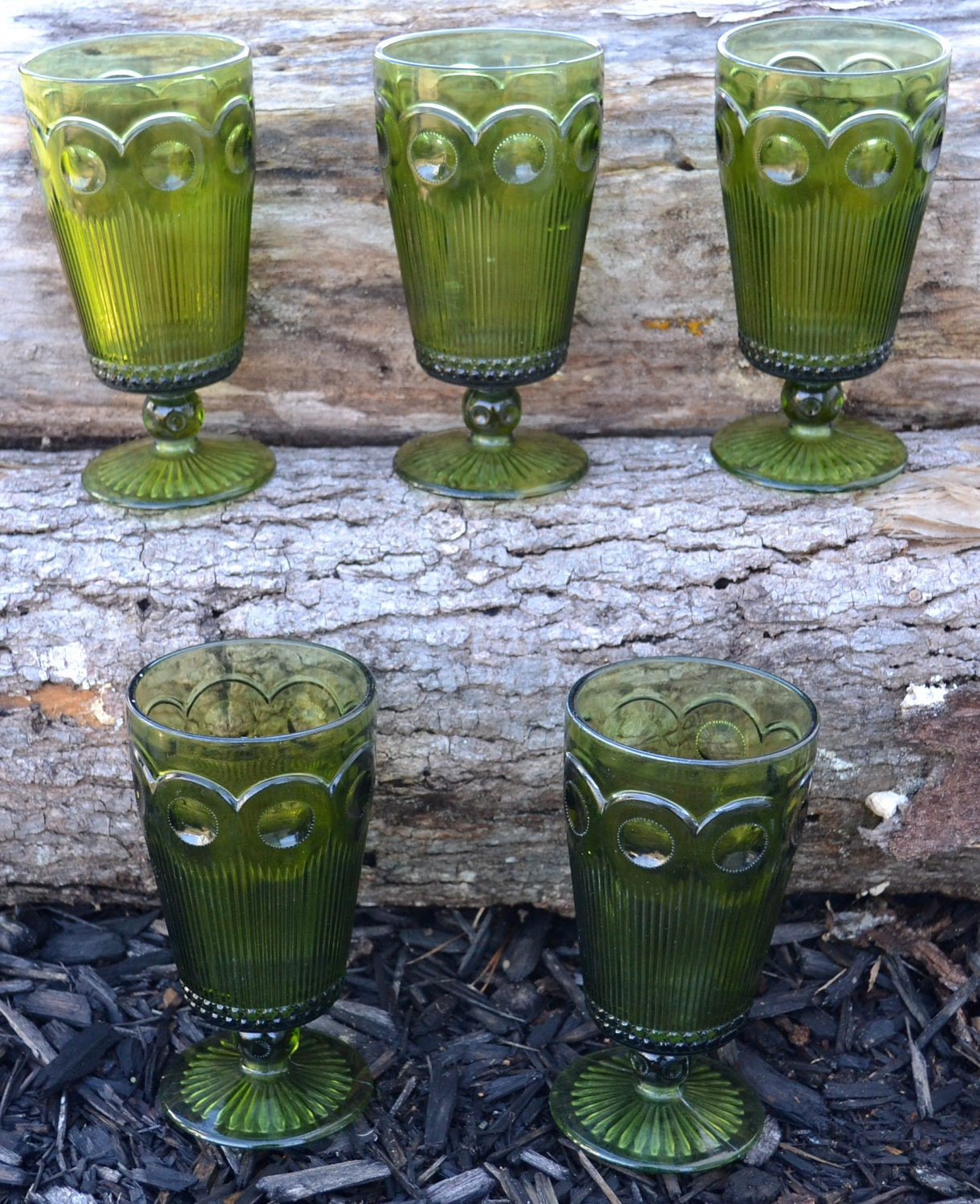 Vintage Green Drinking Glasses By Artbyjuliet On Etsy