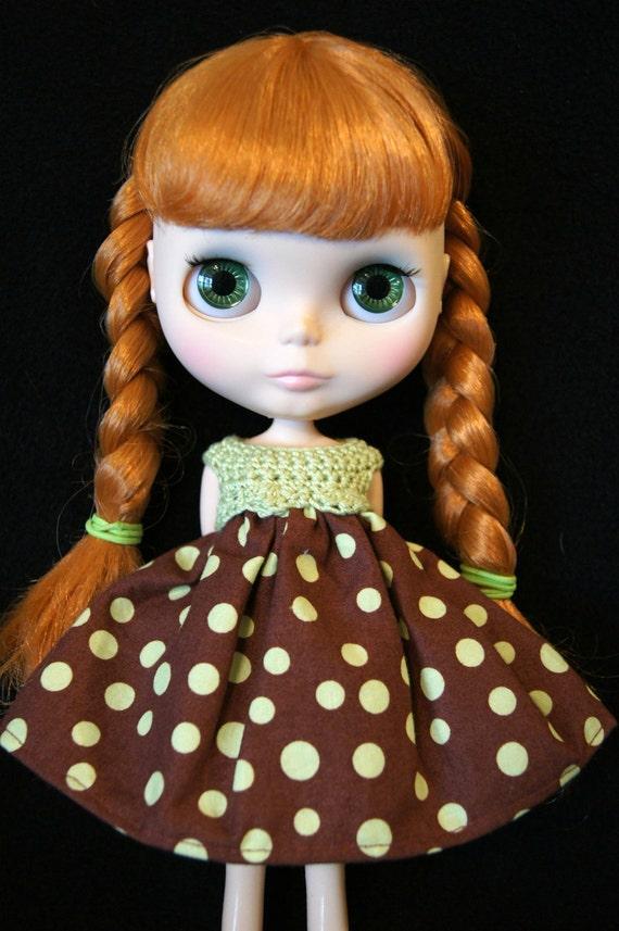 Blythe Rag Bag Designs Chocolate Chip Mint Dress