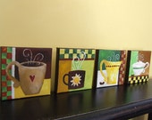 """Original Painting, FOR the LOVE of COFFEE, Four 5""""x5"""" acrylic on canvas, Home Decor, Coffee Art, Set of 4"""
