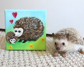 Nursery Decor, MAMALOVE HEDGEHOGS no.2, 5x5 Acrylic Canvas, Art for Children, Baby Decor, New Baby