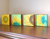 Original Painting, SUNFLOWERS, Four 6x6 acrylic canvas, Home Decor, Floral, Set of 4