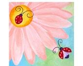 Nursery Art for Girls, LITTLE LOVE BUGS, 12 x12 Painting, Pink Girls Room Decor