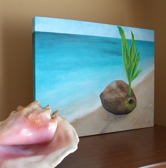 Beach Art, SPROUTING COCONUT, 16x20 Original Painting Acrylic on Canvas, Tropical Art for Home and Office
