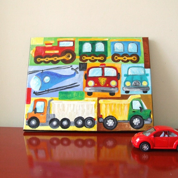 Painting Ideas For Boys Rooms: Boys Room Wall Art TRANSPORTATION COLLAGE PAINTING 11x14