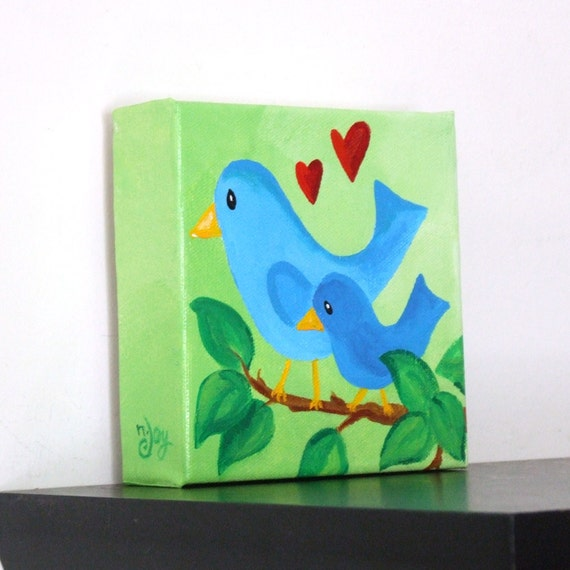 Nursery Art, MAMA LOVE BLUEBIRDS, 5x5 Original Acrylic Canvas, Art for Kids, Babys Room, Baby Decor