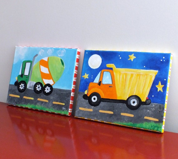 Kids Art 2 Trucks Two 8x10 Canvas Cement Mixer And