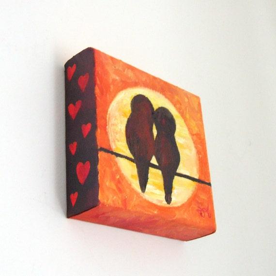 Original Painting, LOVEBIRDS at SUNSET, 5x5 Oil on Canvas, Home Decor, Romantic Art