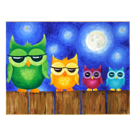 Original Painting Owls On A Fence Whimsical Art Art For