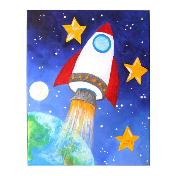 Art For Kids Rocket Ship 11x14 Acrylic Canvas Space Decor