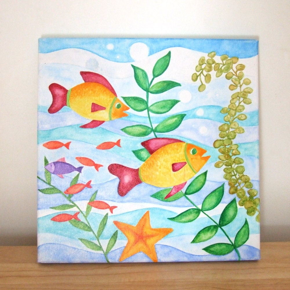 On sale original painting happy fish 12x12 watercolor for Simple watercolor paintings for kids