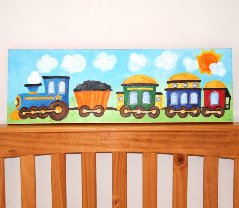 Train Art For Boys Nursery Train 10x30 Canvas Painting For