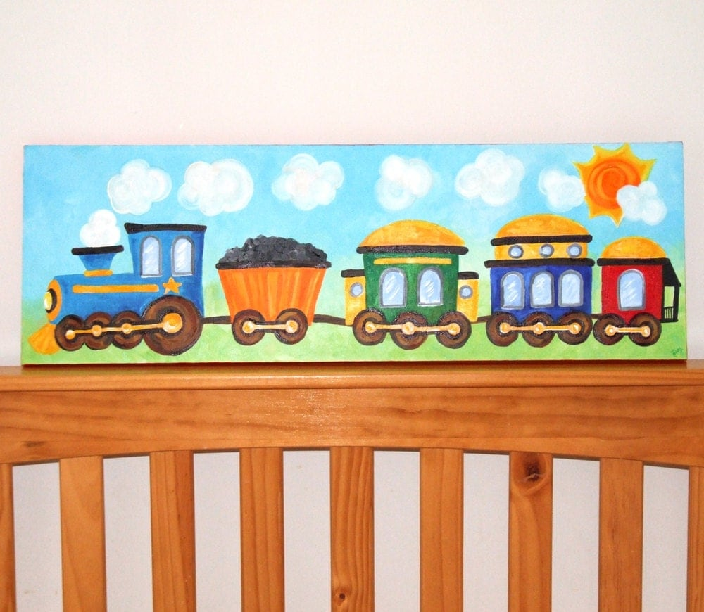Train art for boys nursery train 10x30 canvas painting for for Toddler train bedroom