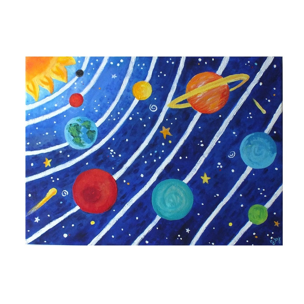 Childrens Wall Decor Canvas : Art for kids solar system no acrylic canvas by njoyart