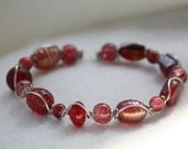 Ruby Red Wire Wrapped Bracelet