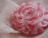 Blushing Pink Cabbage Rose  - - Hand Sewn Girly Ruffled Ribbon Hair Clip