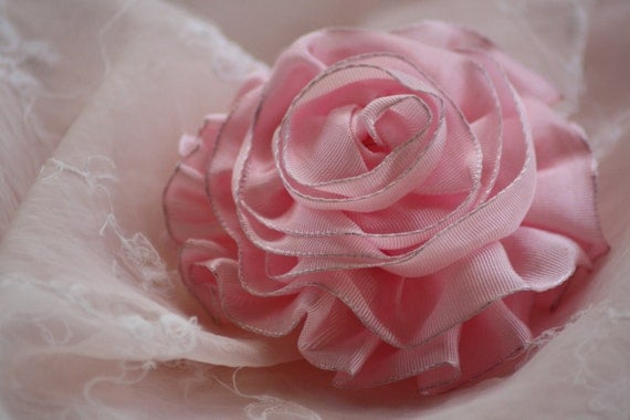 Blushing Pink Cabbage Rose  - - Hand Sewn Girly Ruffled Ribbon Hair Clip