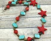 Sea Star - Wood, Czech Glass and Cinnabar Necklace