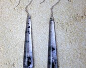 Inky - Long Acrylic and Sterling Silver Earrings
