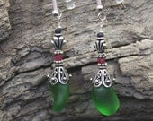 Emerald green sea glass earrings with rubies