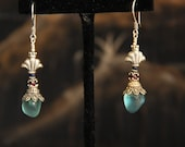 Aqua green sea glass earrings with Sterling Silver beads