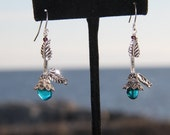 Rare Turquoise sea glass earrings with sterling silver findings