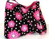 Clearance Black Purse Slouch Purse - Black Corduroy with Pink Daisies, Medium Size