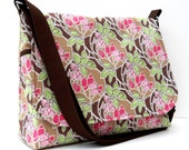 Messenger Bag Cross Body Purse - Pink and Green Trees on Brown
