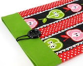 Quilted iPad Cover,  Fabric iPad Sleeve - Apples and Pears in Red and Green, Ready to Ship