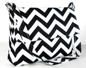 Chevron Messenger Bag Purse Set with Matching iPad Sleeve - Black and White Canvas -  8 Pockets - Larger