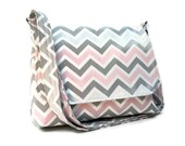 Fabric Purse Chevron Messenger - Grey and Pink Zig Zag