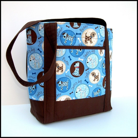 Cotton Tote Bag, Dogs In Bubbles on Blue and Brown, Lined, Medium size