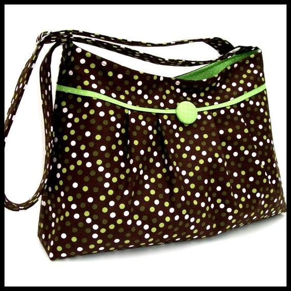 Fall Purse, Autumn Bag, Brown with Polka Dots