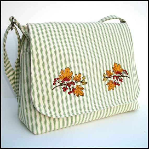 Reserved Listing - Handmade Messenger Purse / Crossbody Bag - Autumn Leaves Embroidery on Green Stripe Cotton Ticking