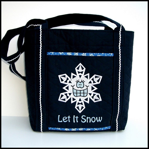 Winter Tote Bag / Shoulder Bag / Purse / Everyday Carryall / Handmade Tote -  Navy Blue Quilted Bag with Snowflake Embroidery