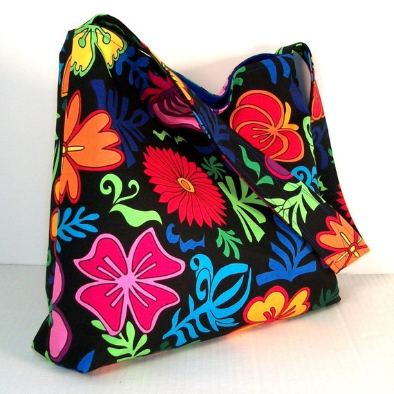 Slouch Hobo Bag, Purse, Large Colorful Tropical Flowers, Royal Blue, Medium Size