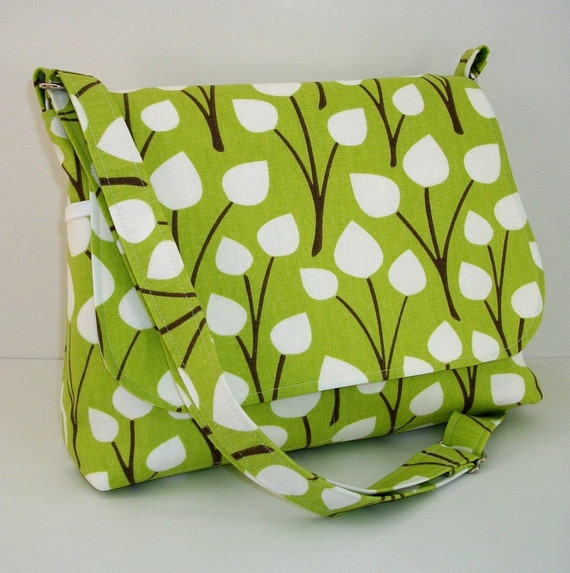 Messenger Bag, White Leaves on Lime Green Home Dec Fabric, Long Adjustable Strap, Medium Size
