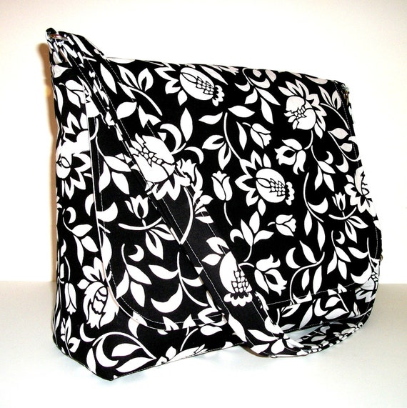 Black and White Womens Cross Body Messenger Purse -  Black and White Floral Print