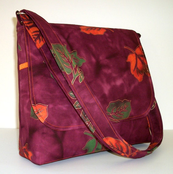Fall Purse / Autumn Pocketbook / Batik Messenger Bag / Crossbody Purse / Purple Handbag - Purple Batik with Orange Leaves, Ready To Ship