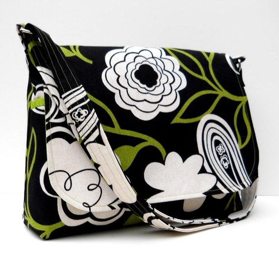 Canvas Messenger Bag, Avocado Green and Ivory Floral on Black,Long Adjustable Strap, Medium Size