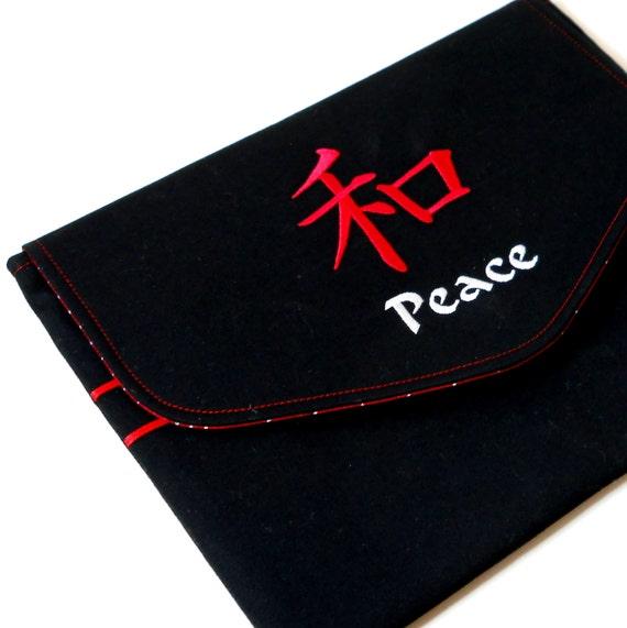 iPad Case iPad 2 Cover Tablet Sleeve - Kanji Peace Symbol Embroidery on Black Twill