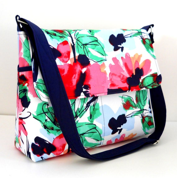 Spring Messenger Bag Purse Set with Matching iPad Sleeve - Poppies on White - Larger with 8 pockets