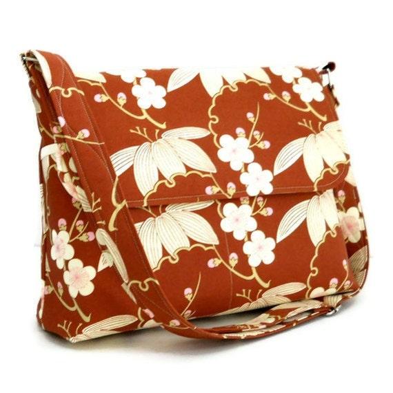 Women's Messenger Bag,  Cross Body Purse, Floral Shoulder Bag, Pocketbook,  Everyday Bag  - Amy Butler Trailing Cherry in Brown - 8 Pockets