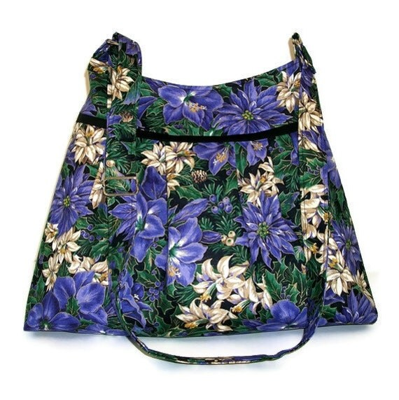 Floral Purse, Pleated Bag -  Black with Purple and Bone Flowers Pine Cones and Berries -  Adjustable Strap