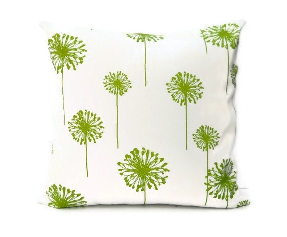 Accent Pillow Cover 18 x 18 - Green Dandelions on White