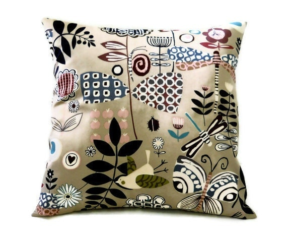 Accent Pillow Cover 18 x 18 - Funky Botanicals and Birds on Tan, 18 inch Pillow Cover, Ready to Ship