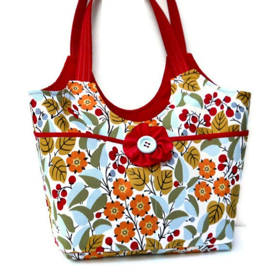 Clearance - Large Shoulder Bag Tote Bag Fall Purse - Flowers and Berries with Ribbon Flower