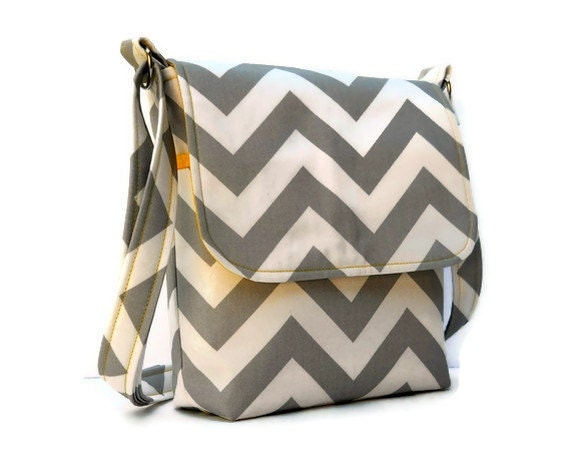 Small Messenger Bag Cross Body Shoulder Bag - Gray and White Chevron Zig Zag with Yellow