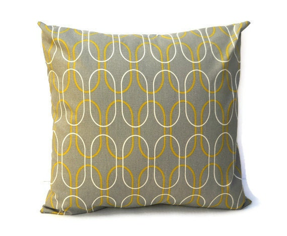 Pair of 18 Inch Canvas Accent Pillow Covers - Gray with Yellow and Cream Ovals
