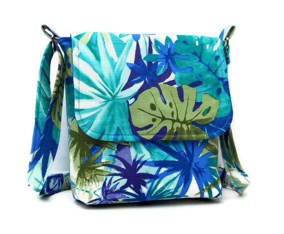 Handmade Small Messenger Bag, Small Fabric Purse  - Tropical Print in Blue - Ready to Shio